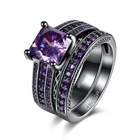 18k Gold Plated Black Purple Amethyst Princess Cut Engagement Ring Set Sz 6-8