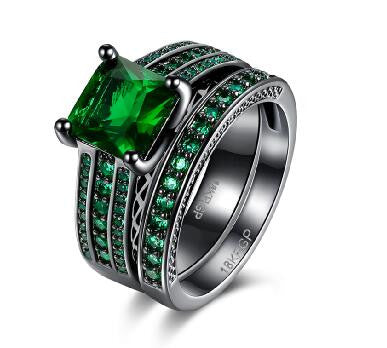 18k Gold Plated Black Green Emerald Princess Cut Engagement Ring Set Sz 6-8