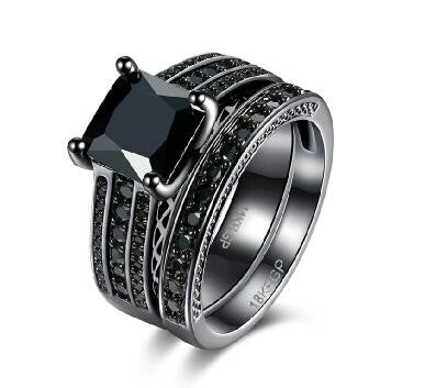 18k Gold Plated Black Finish Black CZ Princess Cut Engagement Ring Set Sz 6-8