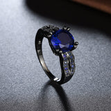 18k Gold Plated Black Finish Solid Blue Sapphire Ring Sz 6-8