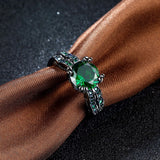 18k Gold Plated Black Finish Solid Green Emerald Ring Sz 6-8