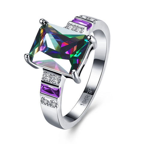 18k Gold Plated White Gold Finish Stunning Rectangle Cut Rainbow Topaz Ring Sz 6-8