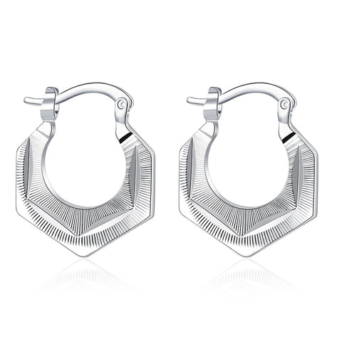 Sterling Silver High Quality Design Hoop Earrings