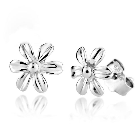 Sterling Silver Cute Sun Flower Design Stud Earrings