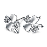 Sterling Silver Cute Four Leaf Clove CZ Stud / Earrings