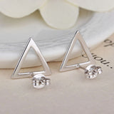 Sterling Silver Simple Triangle Design Stud Earrings