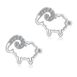 Sterling Silver Unique Cut Out Design CZ Sheep Stud Earrings