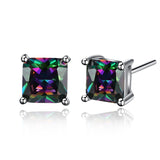 18k Gold Plated White Gold Finish Rainbow Topaz Stud Earrings