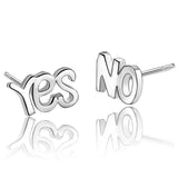 Sterling Silver Cute Yes / No Stud Earrings