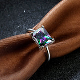18k Gold Plated White Gold Finish Princess Cut Solid Rainbow Topaz Ring Sz 6-8