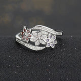 18k Gold Plated White Gold Finish Cute 3 Flower Design Multi Colored Ring Band Sz 7-9