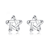 Sterling Silver Cute Cut Out Star Stud Earrings