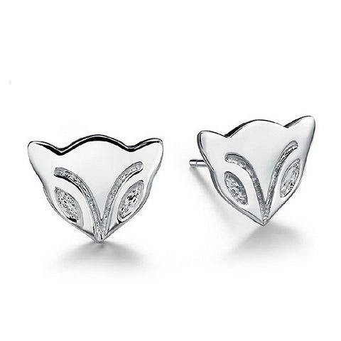 Sterling Silver Cute Cat Design Stud Earrings