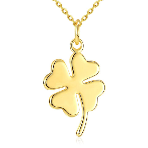 18k Gold Plated Four leaf Clover Pendant w/ 18 Inch Chain