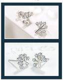 Sterling Silver Cute Tree Design CZ Stud Earrings