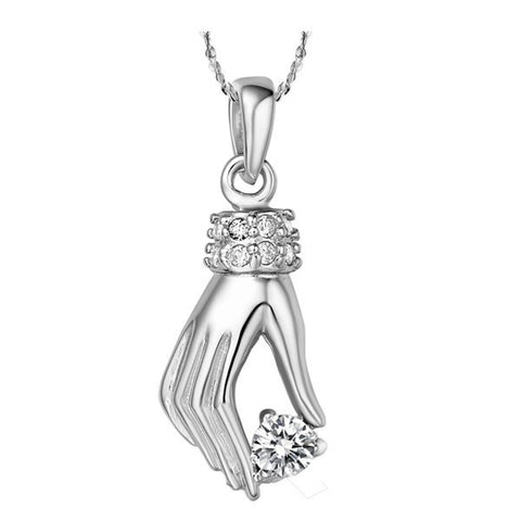 Sterling Silver Stunning Clear CZ Elegant Hand Pendant w/ Chain
