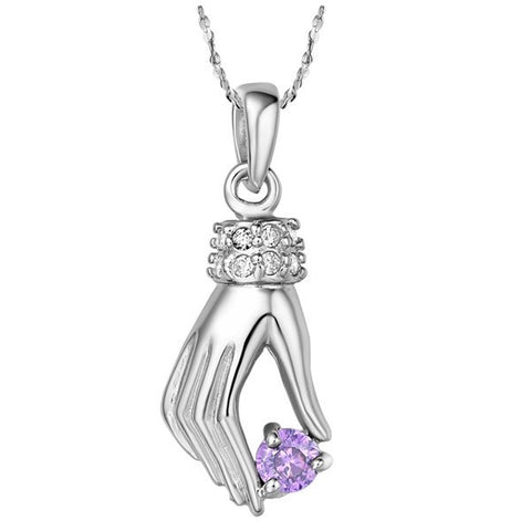 Sterling Silver Stunning Amethyst Elegant Hand Pendant w/ Chain