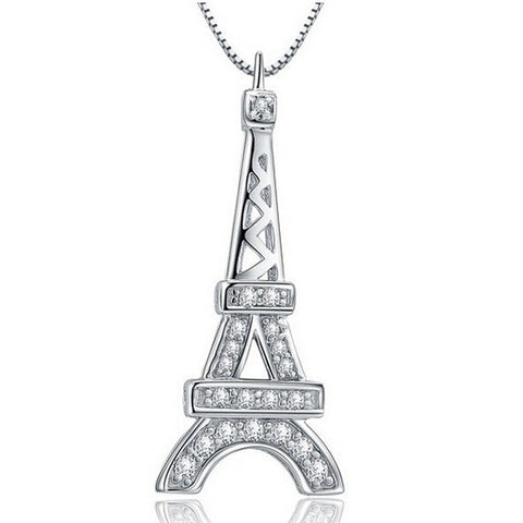 Sterling Silver Stunning Eiffel Tower CZ Pendant w/ Chain