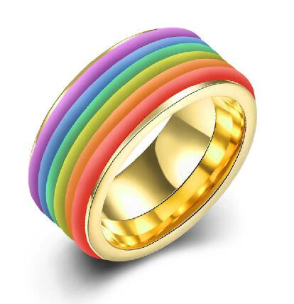 Stainless Steel Thick Rainbow Style Gold Finish Band Ring Sz 6-9