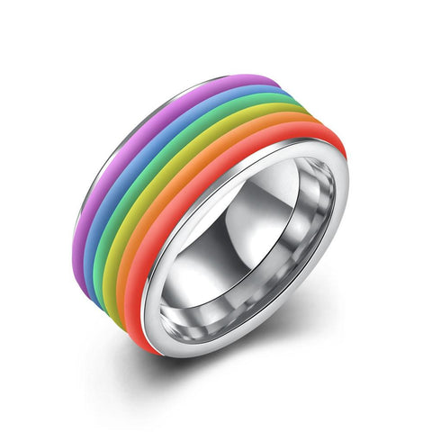 Stainless Steel Thick Rainbow Style Band Ring Sz 6-9