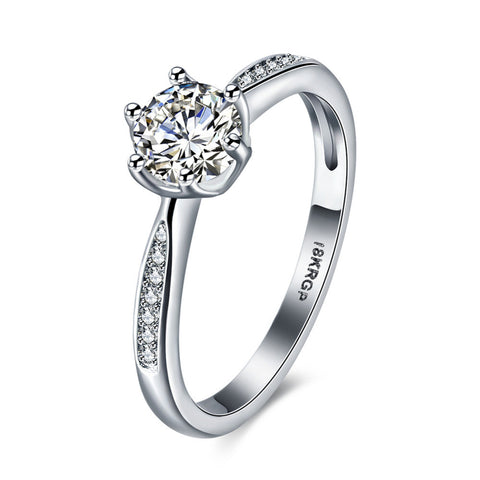 18k Gold Plated White Gold Finish Cute & Sleek Solitaire CZ Ring Sz 6-9