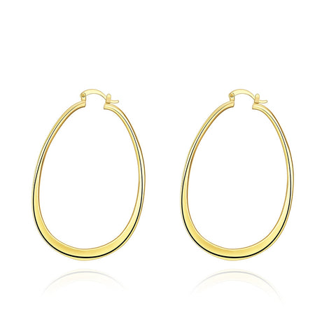 18k Gold Plated Elongated Drop Down Hoop Earrings