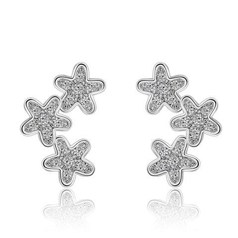 Sterling Silver Cute Multi Star CZ Stud Earrings