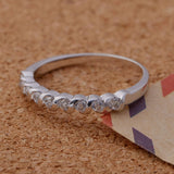 Sterling Silver Beautiful Round CZ Half Eternity Band Ring Sz 7-9