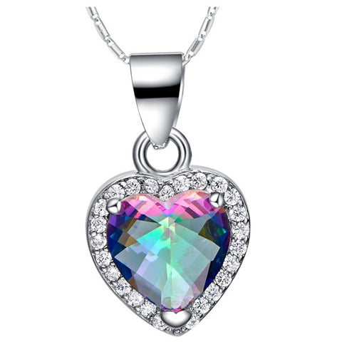 Sterling Silver Gorgeous Rainbow Topaz Heart CZ Pendant w/ Chain