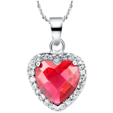 Sterling Silver Gorgeous Ruby Heart CZ Pendant w/ Chain