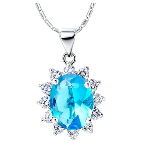 Sterling Silver Stunning Oval Blue Topaz Sunflower Style Pendant w/ Chain
