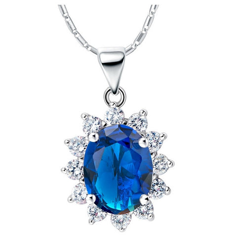 Sterling Silver Stunning Oval Blue Sapphire Sunflower Style Pendant w/ Chain