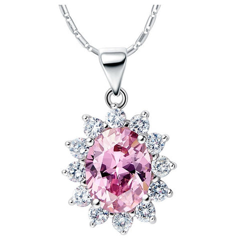 Sterling Silver Stunning Oval Pink CZ Sunflower Style Pendant w/ Chain