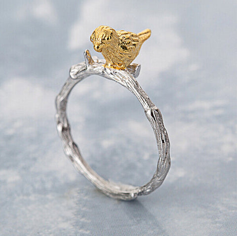Sterling Silver Stunning 2 Tone Bird on A Tree Branch Adjustable Ring