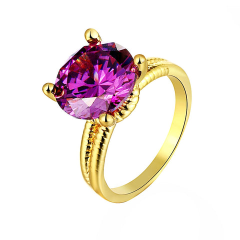 18k Gold Plated Mega Round Amethyst Ring Sz 7-8