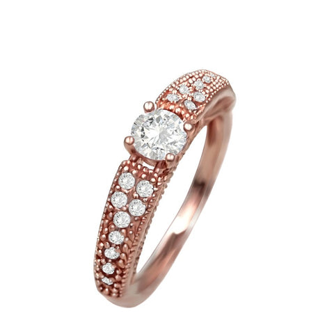 18K Gold Plated Rose Gold Finish Sleek Solitaire Promise / Engagement Ring Sz 6-9