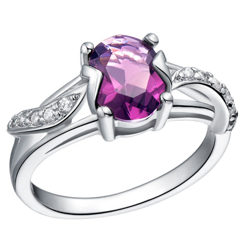 Sterling Silver Stunning Cute Oval Cut Amethyst CZ Cocktail Ring Sz 6-9