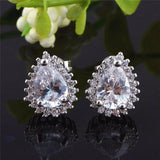 Sterling Silver Stunning Tear Drop Clear CZ Stud Earrings