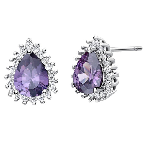 Sterling Silver Stunning Tear Drop Amethyst CZ Stud Earrings
