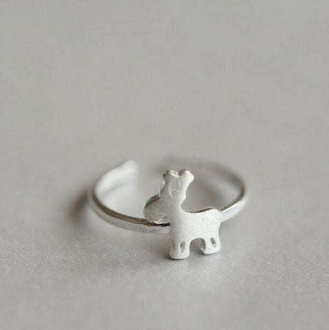 Sterling Silver Cute Reindeer Design Adjustable Band Ring