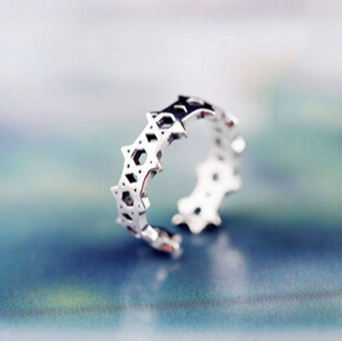 Sterling Silver Unique Star of David Eternity Adjustable Band Ring