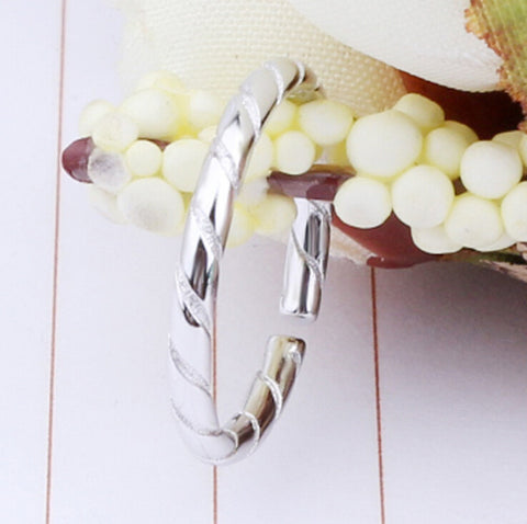 Sterling Silver Cute Bamboo Design Adjustable Band Ring