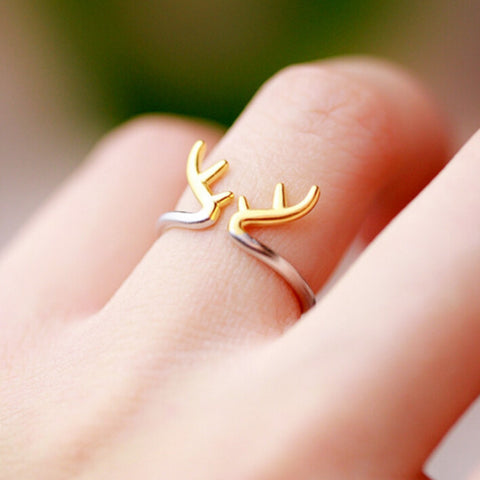 Sterling Silver Cute Design 2 Tone Deer Antlers Adjustable Ring
