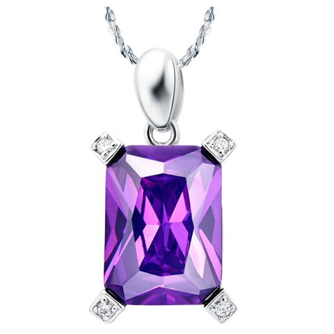 Sterling Silver Gorgeous Rectangle Cut Amethyst CZ Pendant w/ Chain