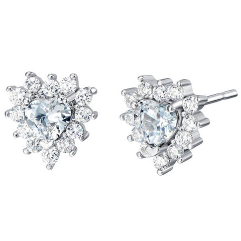 Sterling Silver Gorgeous Heart Cut Clear CZ Stud Earrings