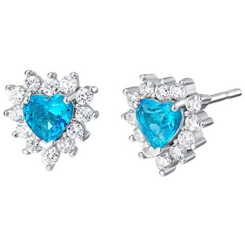 Sterling Silver Gorgeous Heart Cut Blue Topaz CZ Stud Earrings