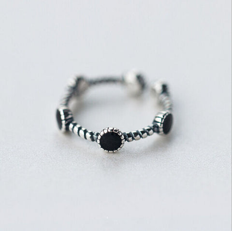 Sterling Silver Unique Black Onyx Charm Ball Adjustable Ring
