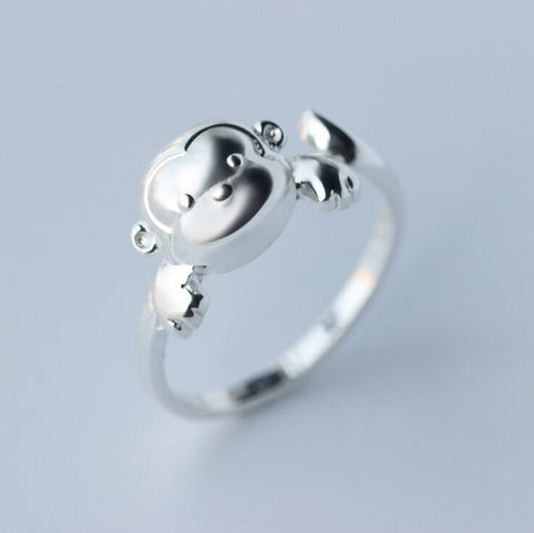 Sterling Silver Cute Monkey Design Adjustable Ring