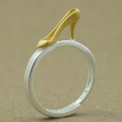 Sterling Silver Unique Two Tone Slipper Adjustable Ring