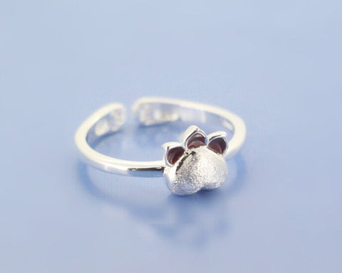 Sterling Silver Cute Kitty Cat Paw Adjustable Ring
